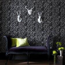 "Fabulous 33' x 20.5"" Cat Print Flocked Wallpaper"
