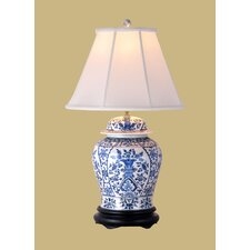 """29"""" H Temple Jar Table Lamp with Bell Shade"""