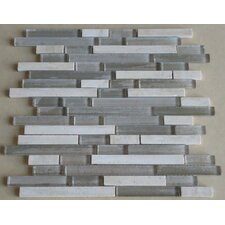 Parallel Random Sized Glass Mosaic Tile in Grey/Cream