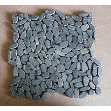 Rocha Random Sized Natural Stone Pebble Tile in Charcoal Black