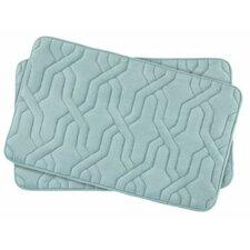 Drona Small 2 Piece Premium Micro Plush Memory Foam Bath Mat Set (Set of 2)