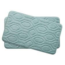 Turtle Shell Small 2 Piece Premium Micro Plush Memory Foam Bath Mat Set (Set of 2)