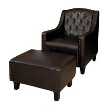 Chris Leather Club Chair & Ottoman Set