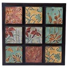 Nine-Tile Floral Wall Décor