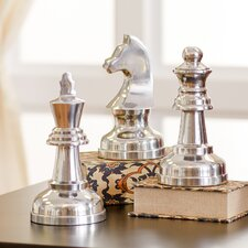 Silvertone Chess Sculpture Set