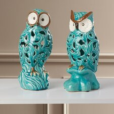 2 Piece Ceramic Owl Figurine Set