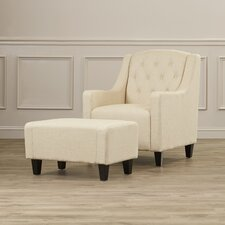 Upholstered Club Arm Chair with Ottoman