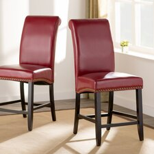 "Ellison 24"" Faux Leather Bar Stool with Cushion (Set of 2)"