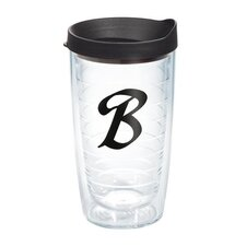 "Initials ""B"" Scroll 16 Oz. Tumbler with Lid"
