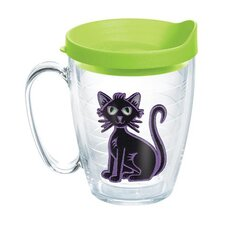 Seasonal Felt Black Cat Mug with Lid