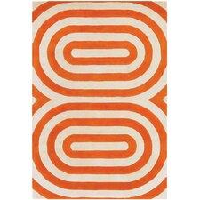Tufted Pile Orange Geometric Rug
