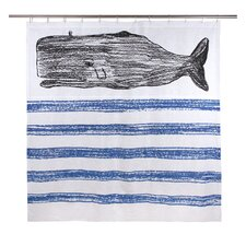 Whale Cotton Sketch Shower Curtain