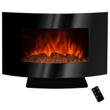 "36"" Freestanding Curved Glass Electric Fireplace with LED Backlight"