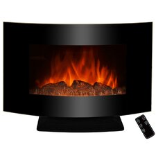 "36"" Freestanding Curved Glass Electric Fireplace"
