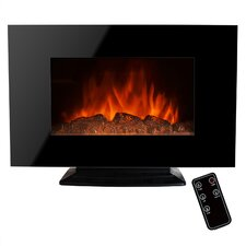 "36"" Freestanding Tempered Glass Electric Fireplace with LED Backlight"