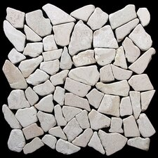Fit Random Sized Natural Stone Pebble Tile in White
