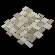 Blocks Random Sized Natural Stone Mosaic Tile in Tan and White Blend