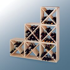 Country Pine Cube 24 Bottle Wine Rack
