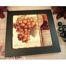 Grape and Bottle Design Ceramic Trivet
