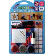16 Piece Patriotic Glitter Tattoo Set