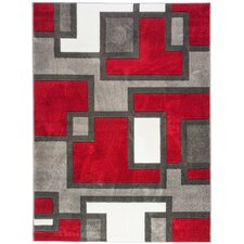 Ruby Imagination Squares Red Area Rug