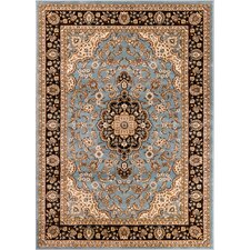 Barclay Medallion Kashan Traditional Blue Area Rug