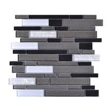 Upscale Designs Random Sized Porcelain, Natural Stone, Metal, Glass, Ceramic Mosaic Tile in White and Shades of Gray