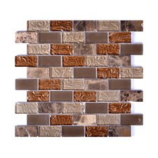 Upscale Designs Random Sized Porcelain, Natural Stone, Metal, Glass, Ceramic Mosaic Tile in Taupe and Brown