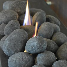 25 Piece Black Ceramic Fiber Fireplace Stones