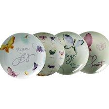 """Butterflies Promise 7.5"""" Porcelain Dessert Plate 4 Piece Set"""