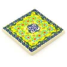 "Polish Pottery 4.37"" x 4.37"" Stoneware Tile in Green"
