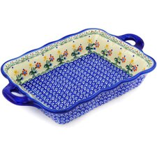 Polish Pottery Rectangular Baker with Handle