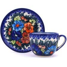 Polish Pottery 3 oz. Espresso Cup with Saucer