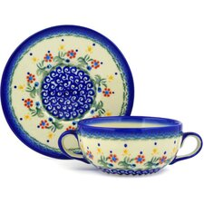 Polish Pottery 14 oz. Bouillon Cup with Saucer