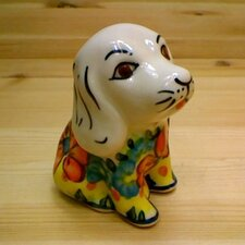 "Polish Pottery 4"" Dog Figurine"