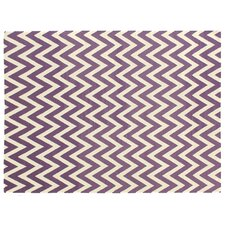 Flat Weave Electric Purple/White Area Rug