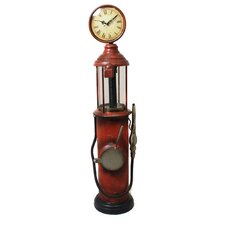 Urban Weathered Handcrafted Retro Gas Pump Decorative Clock