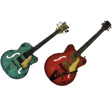 Strings Rock The World Artisan 2 Piece Metal Guitar Wall Art Decor