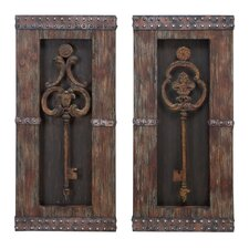 2 Piece Urban Vintage Metal Keys Art Wall Decor Set