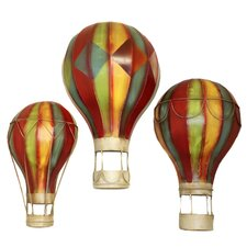 3 Piece Grand Spectacular Hot Air Balloons Metal Art Wall Decor Set