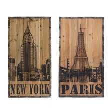 2 Piece Handcrafted Cedar Wood New York Paris Connection Hanging Art Wall Decor Set