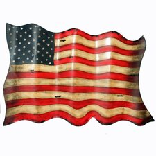 Antique Style American Flag Hanging Metal Wall Decor