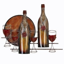 Wine Bottles and Glasses Metal Home Art Wall Decor
