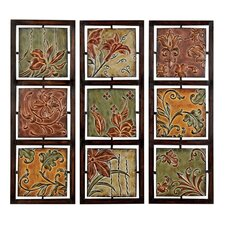 3 Piece Verona Flowers and Vines Metal Art Wall Decor Set