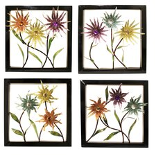4 Piece Urban Designs Wild Flowers Wall Décor Set