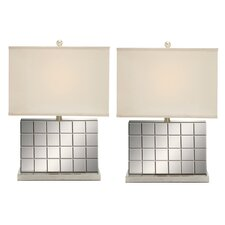 "Urban Designs Chrome Mirror 23"" H Table Lamp with Rectangular Shade (Set of 2)"