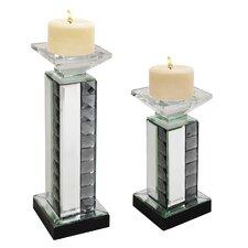 Urban Designs 2 Piece Crystal Mirror Glass Candlestick Set