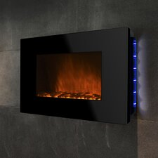 """36"""" Wall Mount Piano Black Electric Fireplace"""