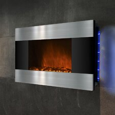 "36"" Wall Mount Stainless Steel and Black Electric Fireplace"