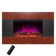"""Pebble and Log Interchangeable 36"""" Wall Mount Electric Fireplace with Remote"""